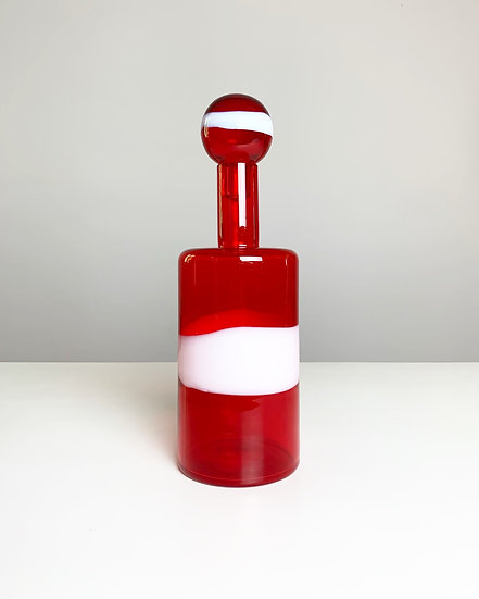 Galliano Ferro Murano Glass Carafe Red 1960s