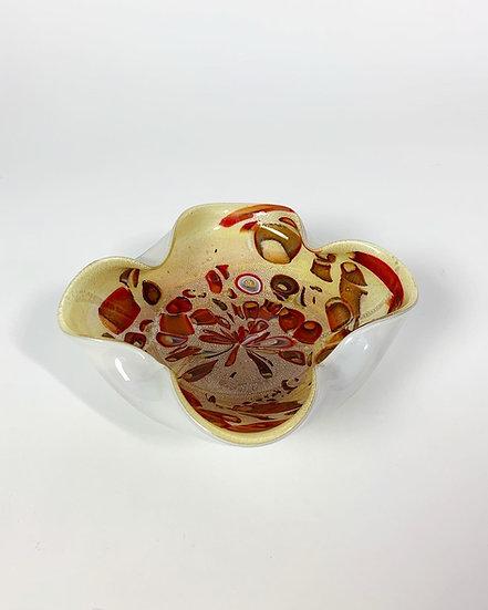 Murano Opal Glass Bowl Murrine 1970s