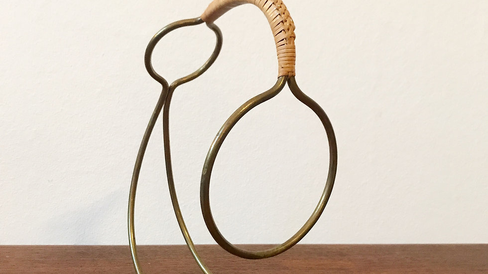 Carl Auböck Bottle Holder or Wine Server Brass & Cane 1950s