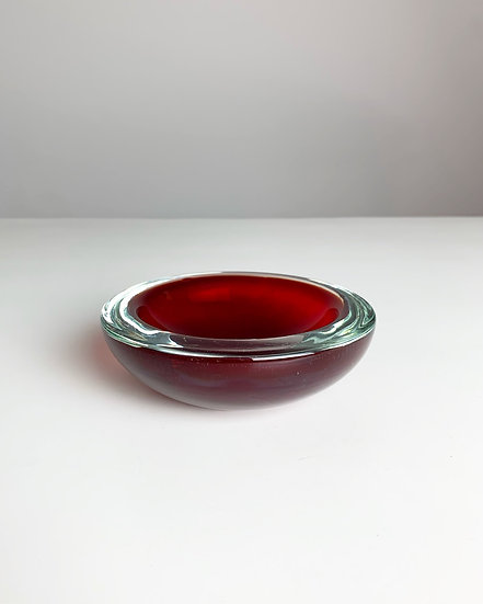 Murano Bowl Sommerso Glass Red 1960s