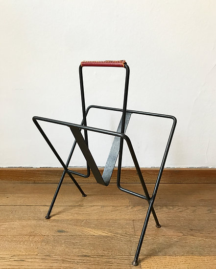 Jacques Adnet Magazine Rack Steel & Leather 1950s