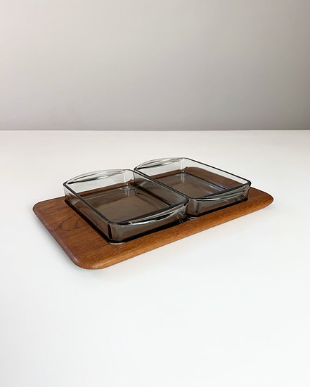 Digsmed Snack Tray Teak & Glass 1960s
