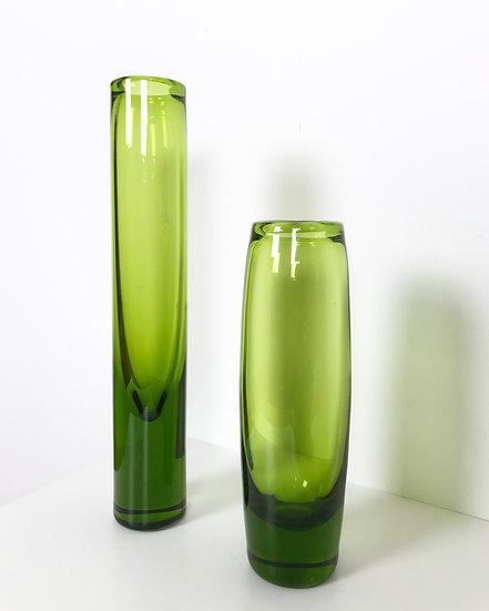 Pair of Per Lütken Vases Holmegaard Green Glass 1960s