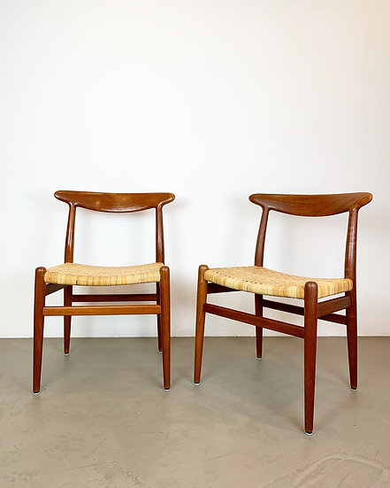 Pair of Hans Wegner Chairs W2 Teak & Cane 1950s
