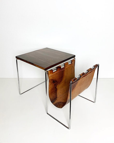 Rosewood Side Table & Magazine Rack Brabantia 1960s