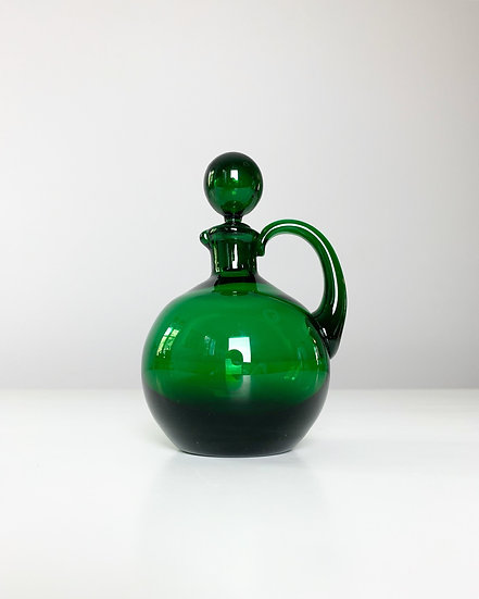 Miniature Green Empoli Glass Carafe 1960s