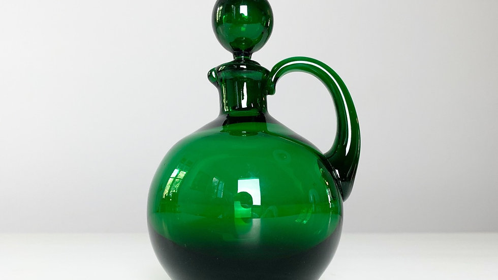 Miniature Green Empoli Glass Carafe 1960s