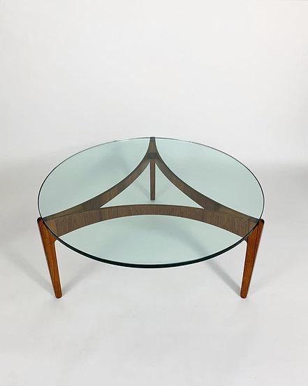 Sven Ellekaer Coffee Table Rosewood & Glass 1960s