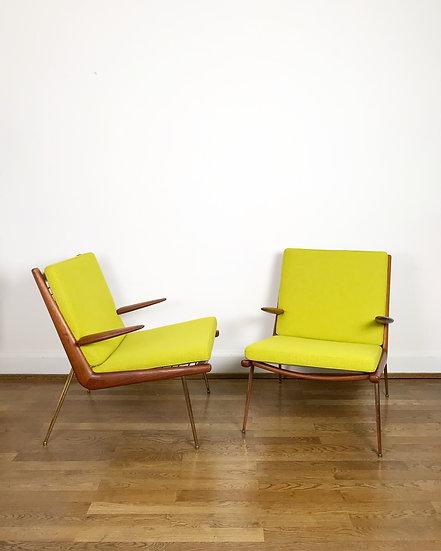 Pair of Boomerang Lounge Chairs Peter Hvidt & O. Molgaard-Nielsen