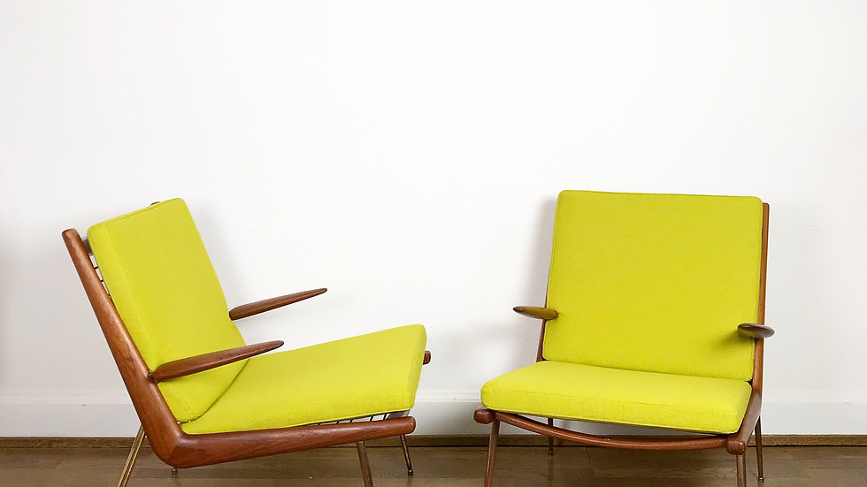 Pair of Boomerang Lounge Chairs Peter Hvidt & O. Molgaard-Nielsen