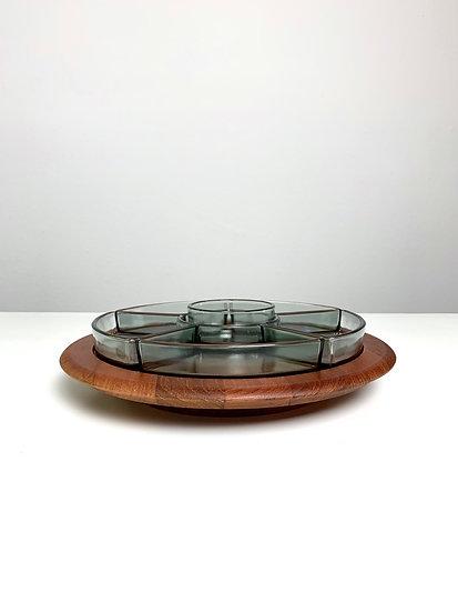 Digsmed Lazy Susan Teak & Glass 1960s