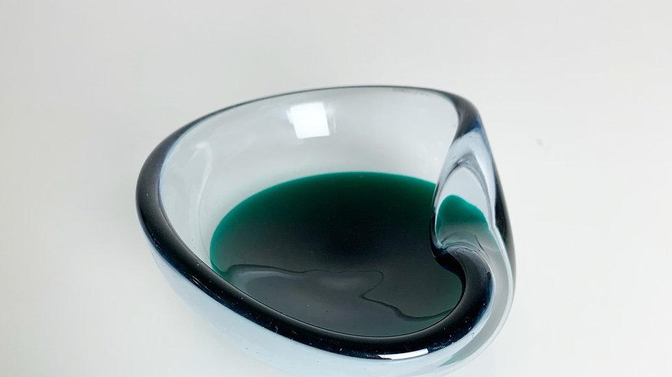 Murano Glass Ashtray Green Dot 1960s
