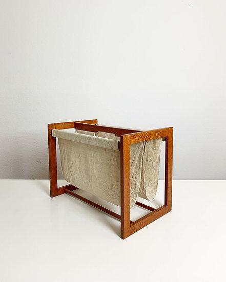 Aksel Kjersgaard Magazine Rack Teak Linen 1960s