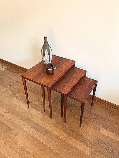 Erik Riisager Hansen Nesting Tables Rosewood Haslev 1960s