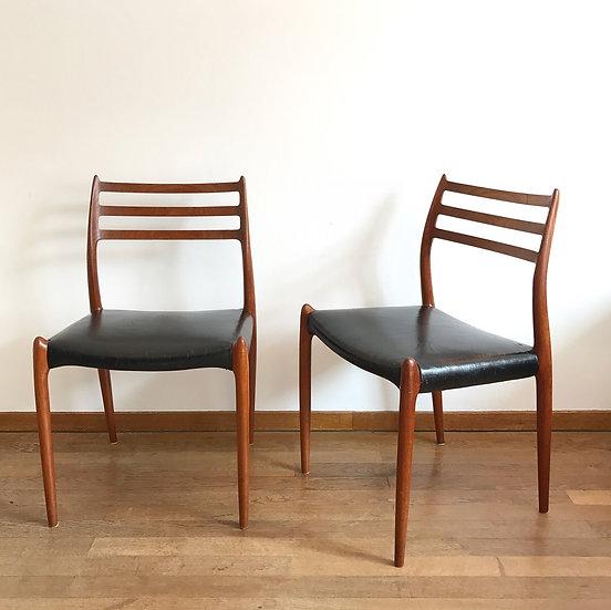 Pair of Niels O. Møller Chairs Mod 78 Teak & Leather