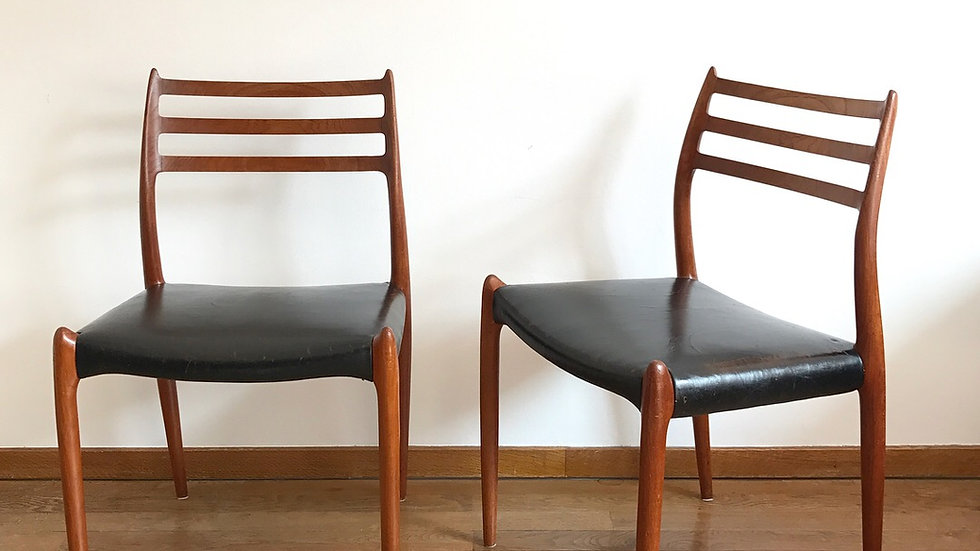 Pair of Niels O. Møller Chairs Mod 78 Teak & Leather