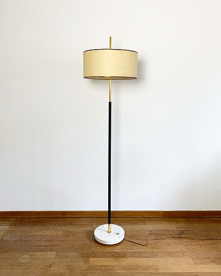 French Floor Lamp Marble & Brass 1950s