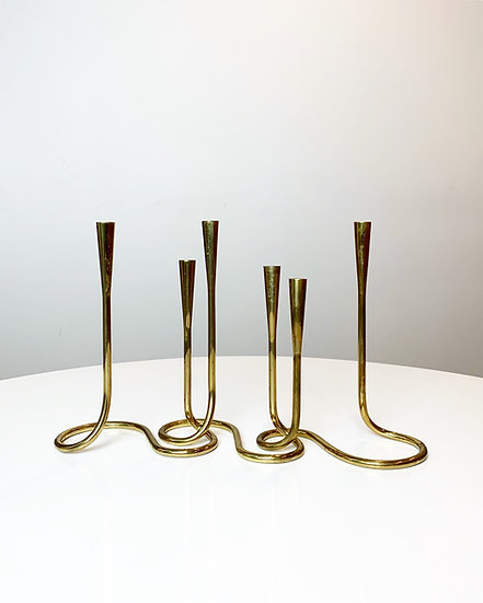 Serpentine Candle Holder Brass Germany 1950s