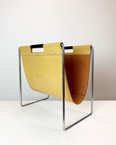 Brabantia Magazine Rack Leather & Chrome 1960s