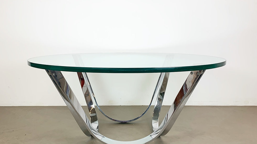 Roger Sprunger Coffee Table Chrome & Glass 70s
