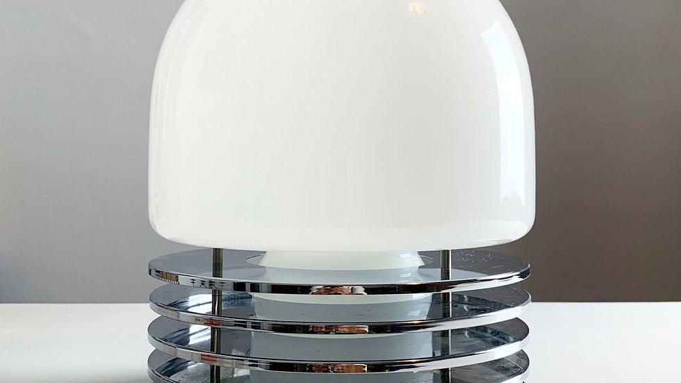Italian Table Lamp Glass & Chrome 1970s