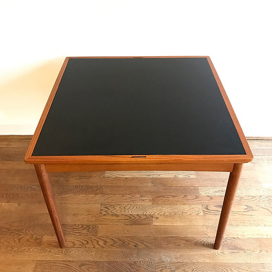 Poul Hundevad Game Table Teak & Leatherette 60s