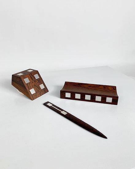 Hans Hansen Desk Set Rosewood Silver 1960s