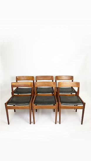 Set of Six Grete Jalk Dining Chairs Teak & Leather 50s