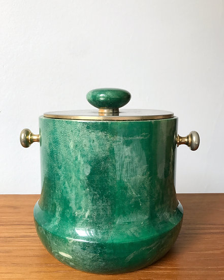 Aldo Tura Ice Bucket Goat Skin Green 1960s