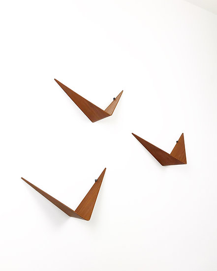Set of Three Poul Cadovius Butterfly Shelves Teak