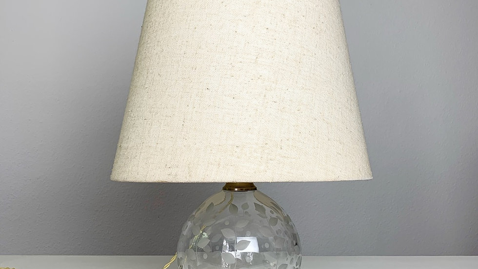 Edward Hald Etched Glass Table Lamp Orrefors 1940s
