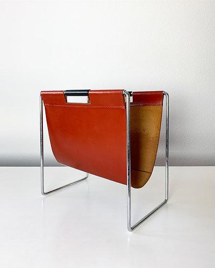 Brabantia Magazine Rack Leather Chrome 1960s