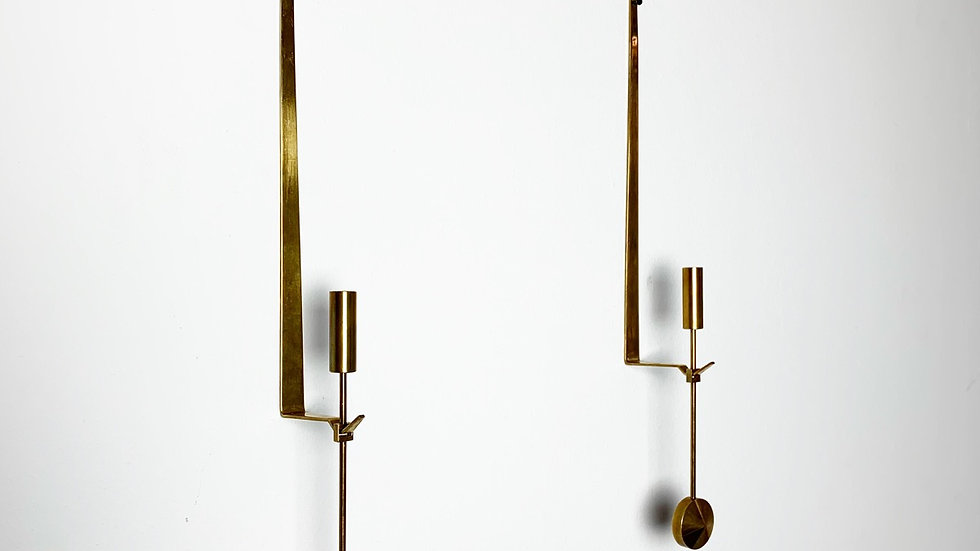Pair of Pierre Forsell Wall Candle Holders Skultuna 1970s