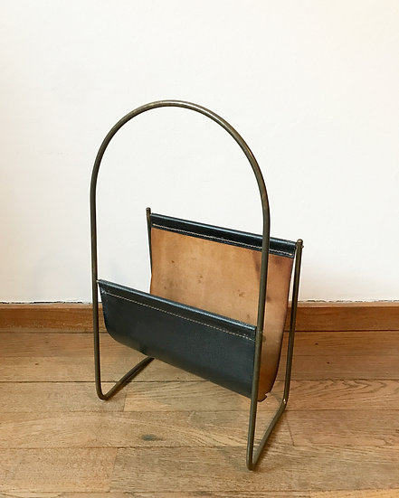 Carl Auböck Magazine Rack Brass & Leather 50s