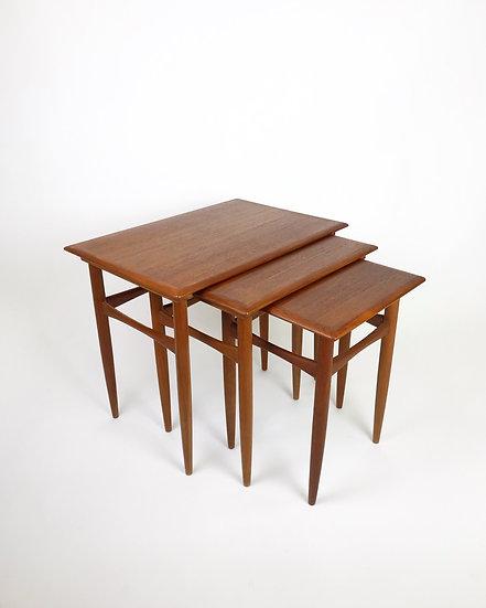 Set of Three Danish Nesting Tables Teak 60s
