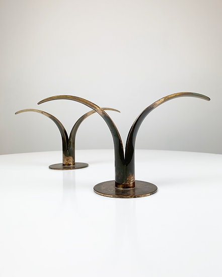 Pair of Liljan Candle Holders Ystad Patinated Brass 1930s
