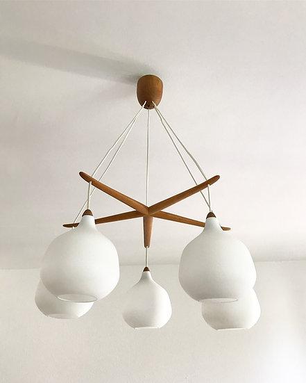 Uno & Östen Kristiansson chandelier Glass & Oak 50s