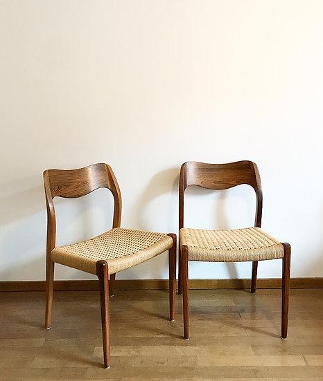 Set of Four Niels Møller Chairs Model 71 Rosewood