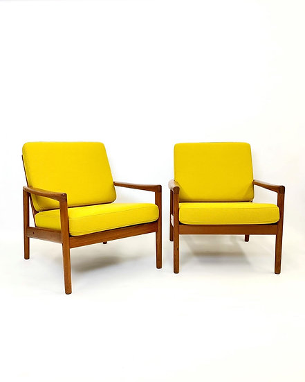 Pair of Hans Olsen Lounge Chairs Teak & Kvadrat 1960s