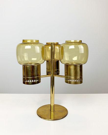Hans-Agne Jakobsson Candle Holder Brass & Glass 1960s
