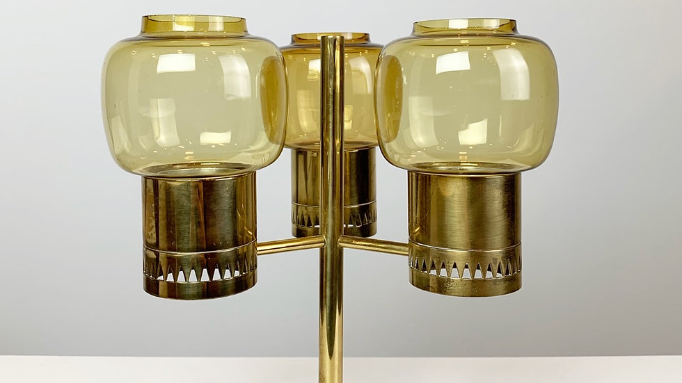 Hans-Agne Jakobsson Candle Holder Brass & Glass 1960s