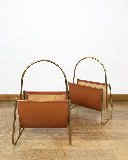 Pair of Carl Auböck Magazine Racks Brass & Leather 1950s