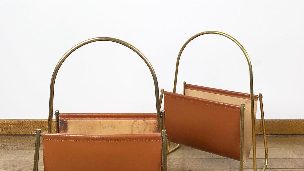 Pair of Carl Auböck Magazine Racks Brass & Leather 1950s