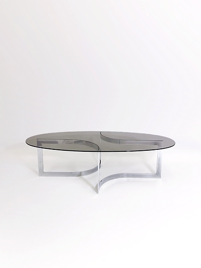 Paul Legeard Coffee Table Chrome & Smoked Glass 1970s