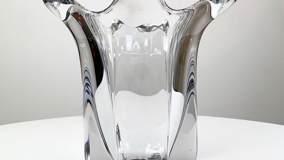 French Crystal Glass Vase Art Vannes 1960s