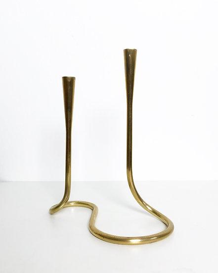 Serpentine Candle Holder Brass 1950s