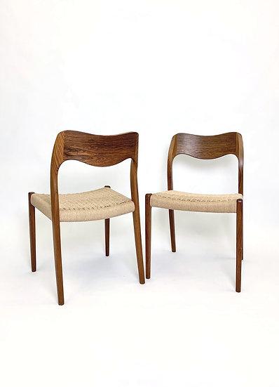 Set of Six Niels Møller Chairs Model 71 1950s