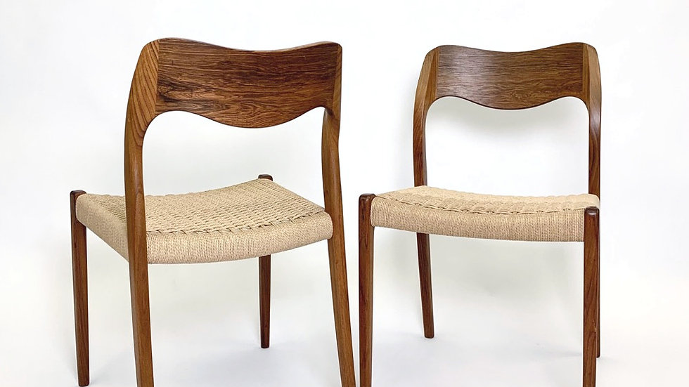 Set of Six Niels Møller Chairs Model 71 1950s