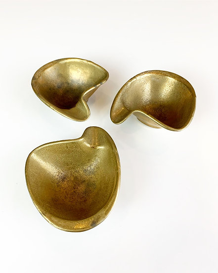 German Brass Stacking Ashtrays 50s