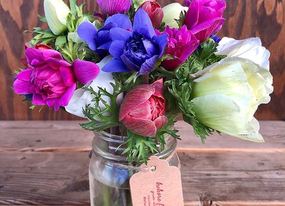 Mixed Flower Pint Jar Bouquet